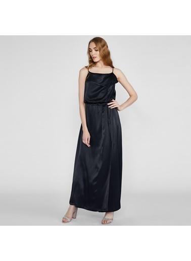 Vekem-Limited Edition İp Askılı Beli Büzgülü Uzun Saten Elbise Siyah